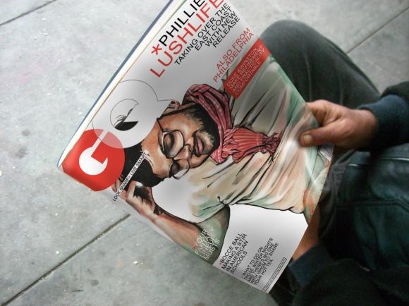 Gq magazine illustration sunflowerman for Gq magazine cover template