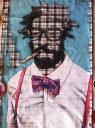 bow tie and cigar fabric painting